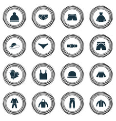 dress icons set with sleeveless tank skirt vector image