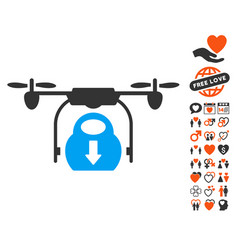 drone drop cargo icon with valentine bonus vector image