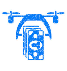 Drone payment grunge icon vector