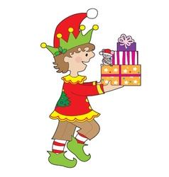 Elf with Present vector