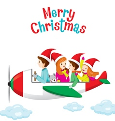 Family Happy on Airplane vector image