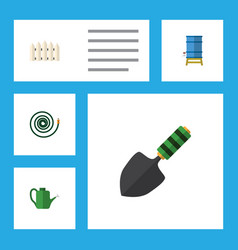 Flat icon farm set of wooden barrier trowel vector