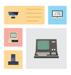 Flat icon laptop set of computer pc display and vector