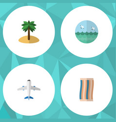flat icon season set of wiper aircraft coconut vector image
