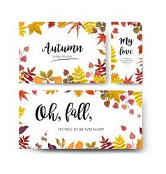 Floral watercolor style card design autumn season vector