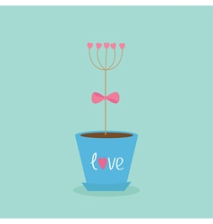 Flower tree stick with hearts in the pot Pink bow vector