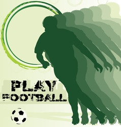 football poster with soccer player silhouette vector image