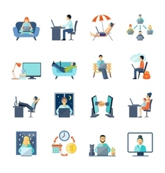 Freelance Icons Set vector image