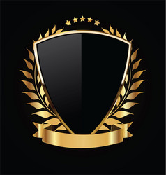 Gold and black shield with gold laurels 08 vector