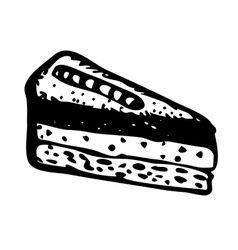 Hand drawn slice of cake vector