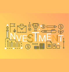 investment word trendy composition concept banner vector image