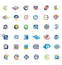Letter e logo set vector