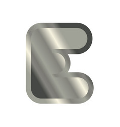 Letter e steel font metal alphabet sign iron abc vector