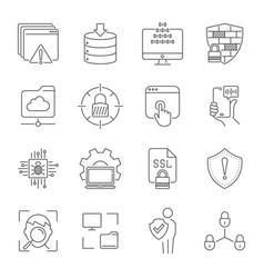 linear internet icons set universal internet icon vector image