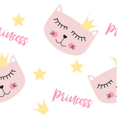 little cute cat princess seamless pattern vector image