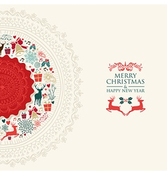 Merry Christmas vintage circle postcard vector