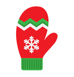 mitten flat icon new year and christmas xmas vector image