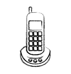 monochrome blurred silhouette of cordless phone vector image