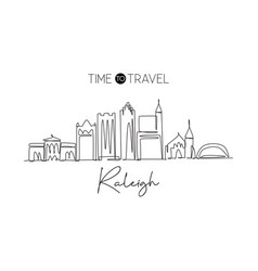 One continuous line drawing raleigh city vector