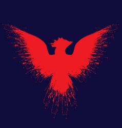 Orange fire phoenix grunge vector