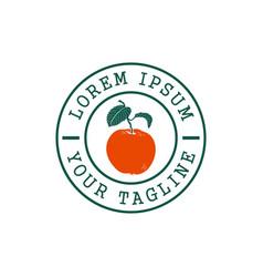 orange fruit stamp logo design concept template vector image
