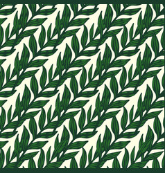 Outline green colored foliage branches seamless vector