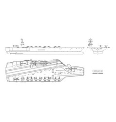 outline image aircraft carrier military ship vector image