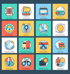 Pack of business and data management flat vector