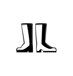 Pair of rubber boots monochrome silhouette vector