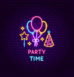 party time neon label vector image