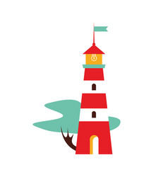 portugal flat lighthouse with a tree vector image