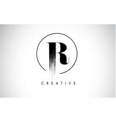 R brush stroke letter logo design black paint vector