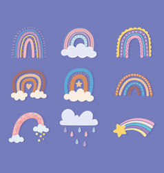 rainbow star clouds vector image