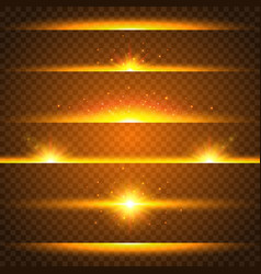 Realistic lens flare set collection of gold light vector
