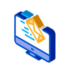 Received letter to computer isometric icon vector