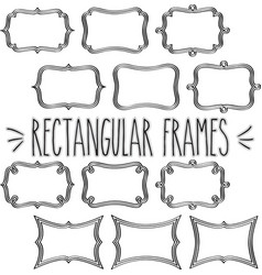 Rectangular frame triple outline vector