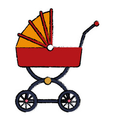 Red and yellow baby carriage wheel decoration vector