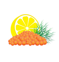 Red caviar with lemon and dill vector