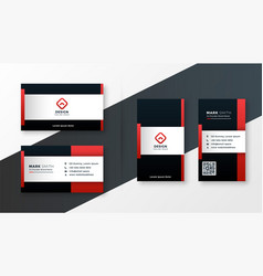 Red color theme modern business card design vector