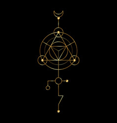 Sacred geometry gold abstract mystic signs vector