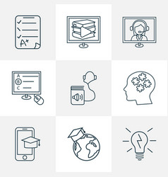 school icons line style set with mobile learning vector image