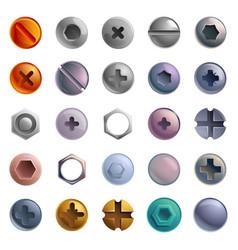 screw-bolt icons set cartoon style vector image