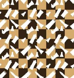Seamless pattern chessboard and chess pieces vector