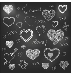 set hand drawn hearts on chalkboard background vector image