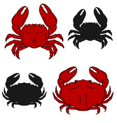 Set of crab icons isolated on white background vector