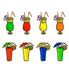 set of tropical cocktails in glass two types vector image