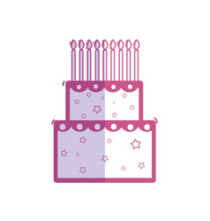 Silhouette delicious cake happy birthday vector