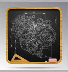 Square blackboard with chalk drawing of gear vector
