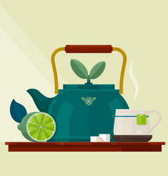 Tea timecard with a cup of kettle and lemon vector