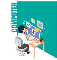 technology man working on computer background vect vector image